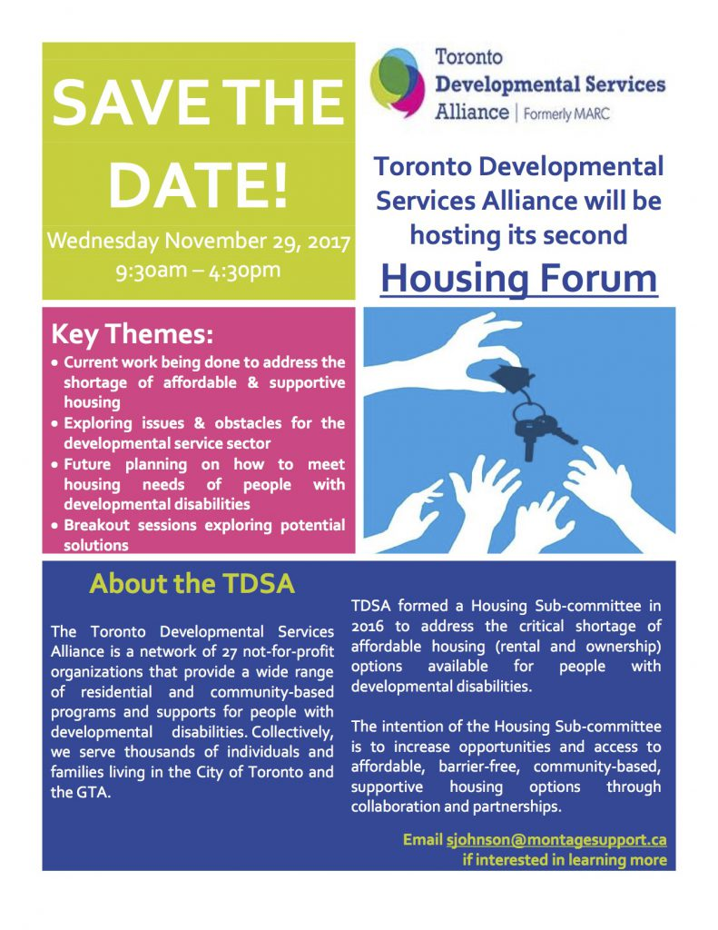 SAVE THE DATE TDSA Housing Forum